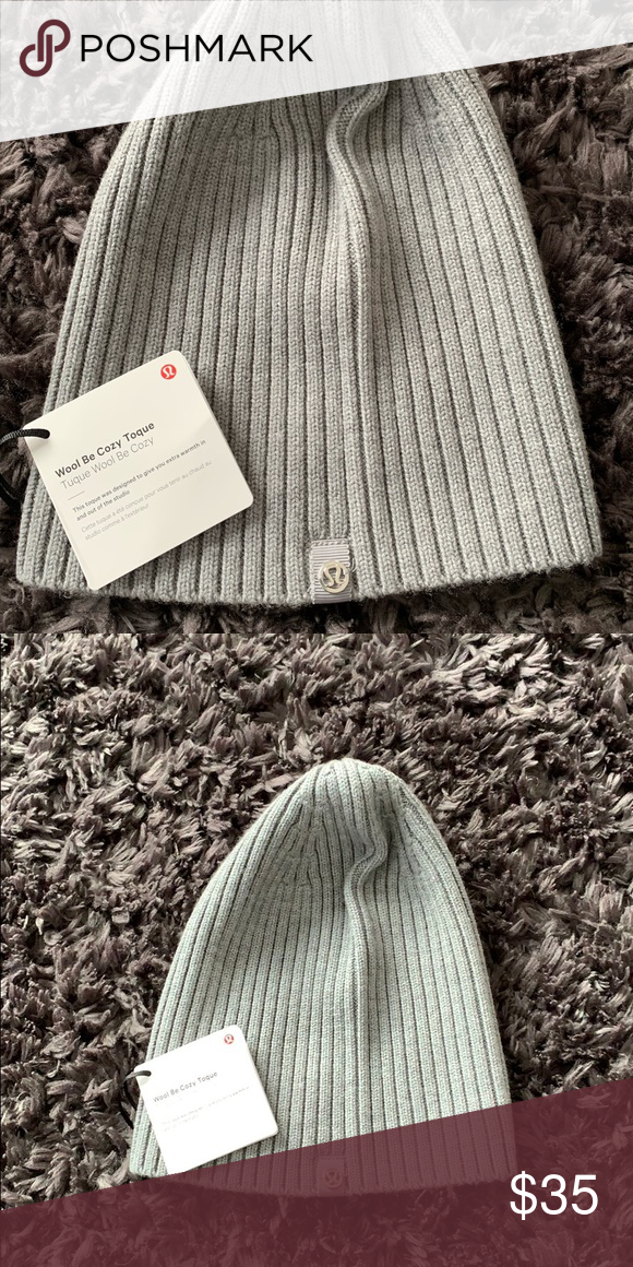 c818dc37d5bb5 Lululemon wool be cozy toque grey NWT Brand new beanie toque. Grey wool  with silver lululemon logo lululemon athletica Accessories Hats