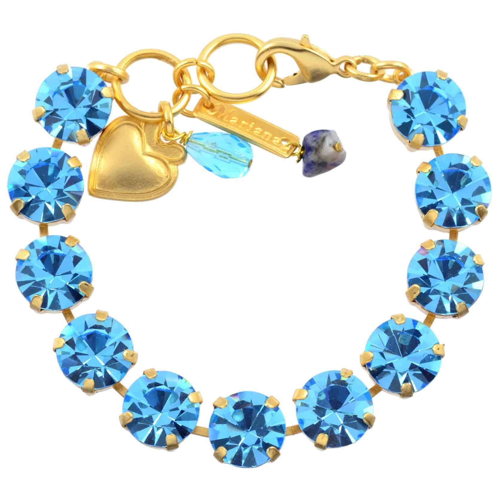 Mariana large tennis bracelet gold plated with aqua swarovski