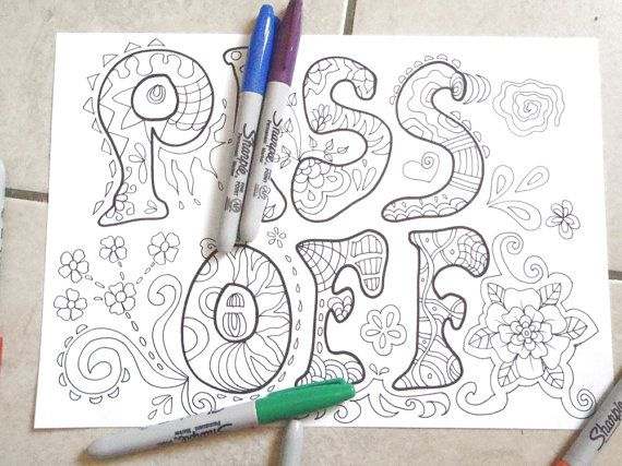 Piss Off Sweary Word Colouring Book Adult Coloring Swear Curse Mature Content Download