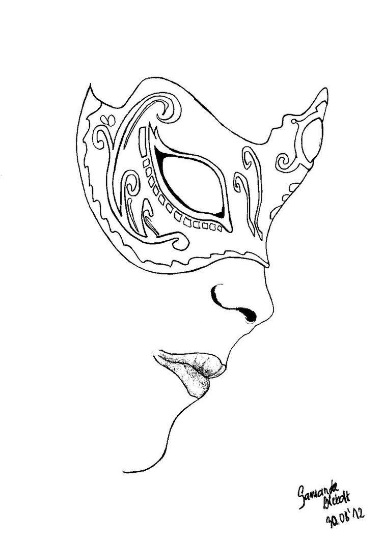 Venetian mask part II lineart by bita-smietana on
