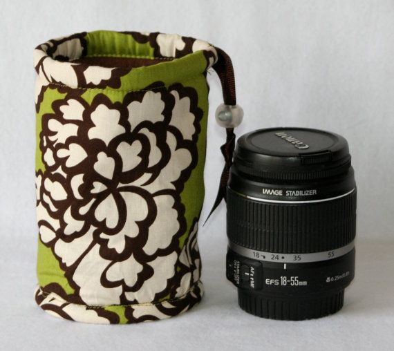 Camera lens case for DSL camera Green Brown and cream print