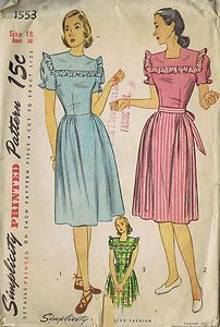 "Vintage 1 PC Dress 40s Simplicity Sewing Pattern 1553 Sz 18 Bust 36 Hip 39"" Cut | eBay"