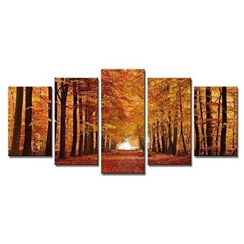 Canvas Wall Art Large 5 Piece Panels Landscape High Quality Brown Trees Gift New #CanvasWallArt