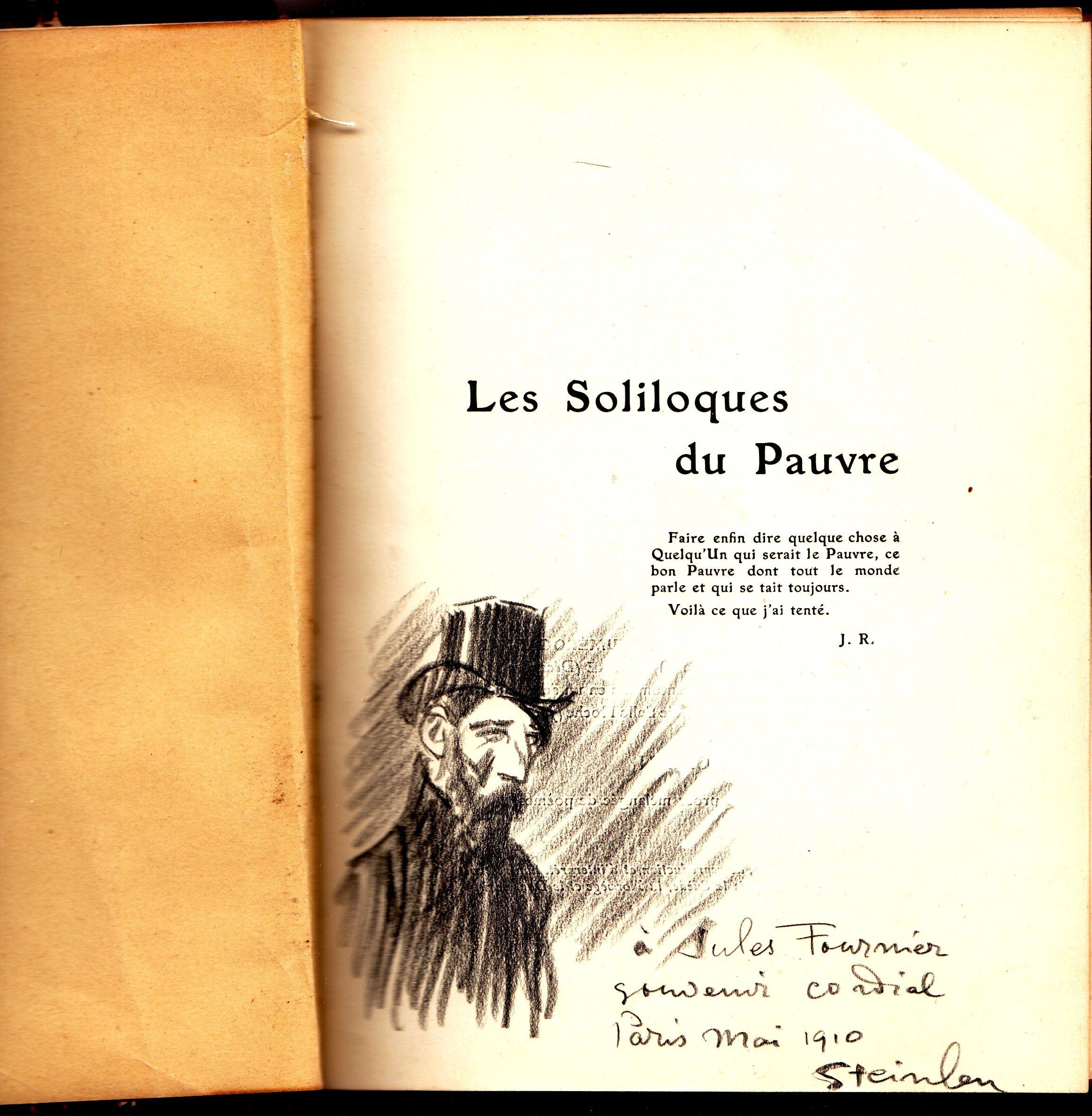"""Steilen - autographe et dessin dans """"Le soliloque du pauvre"""""""