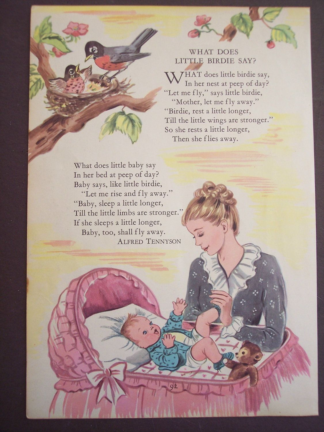 Love Vintage Nursery Rhyme Print 1948 Children S Poem Book Ilration What Does The Little Bir Say By Alfred Tennyson 9 00 Via Etsy