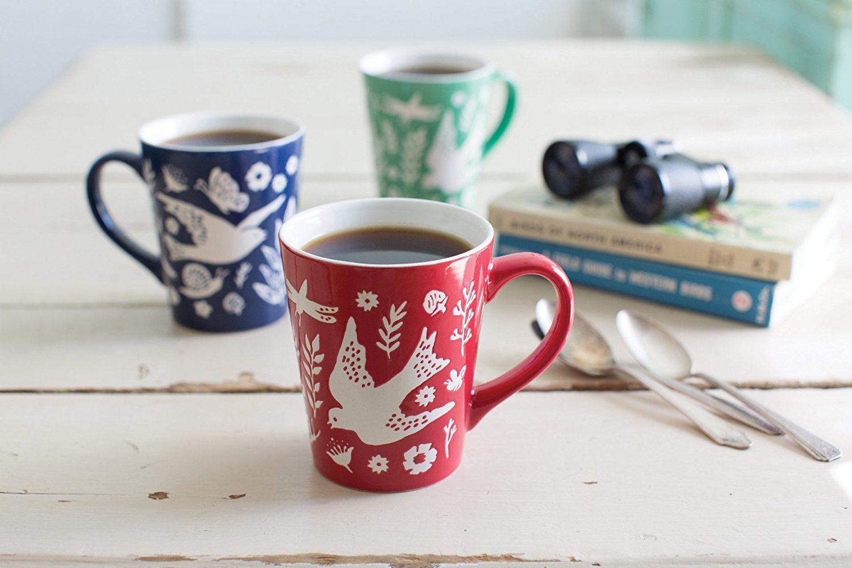 Now Designs Embossed Meadowlark Mugs, Set of