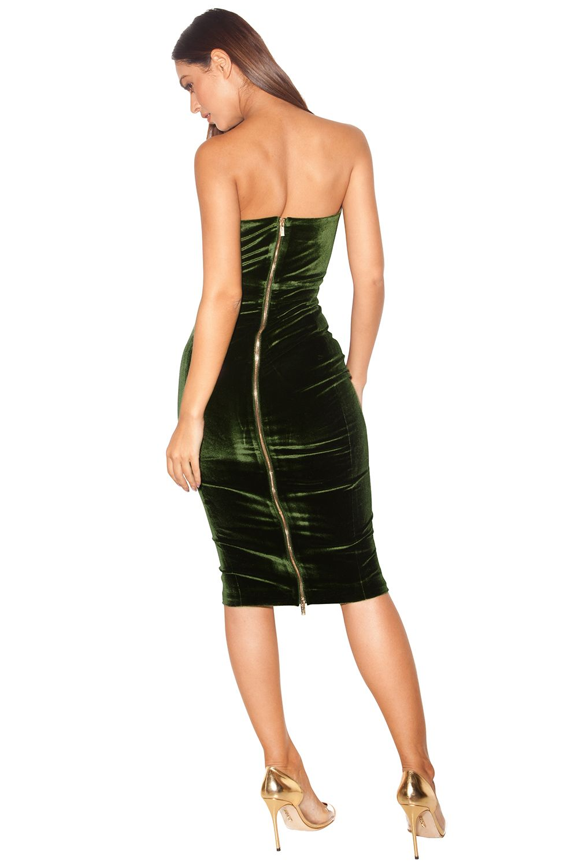 1f0df476ad Clothing   Bodycon Dresses    Antonella  Olive Green Velvet Strapless Dress  - House of CB