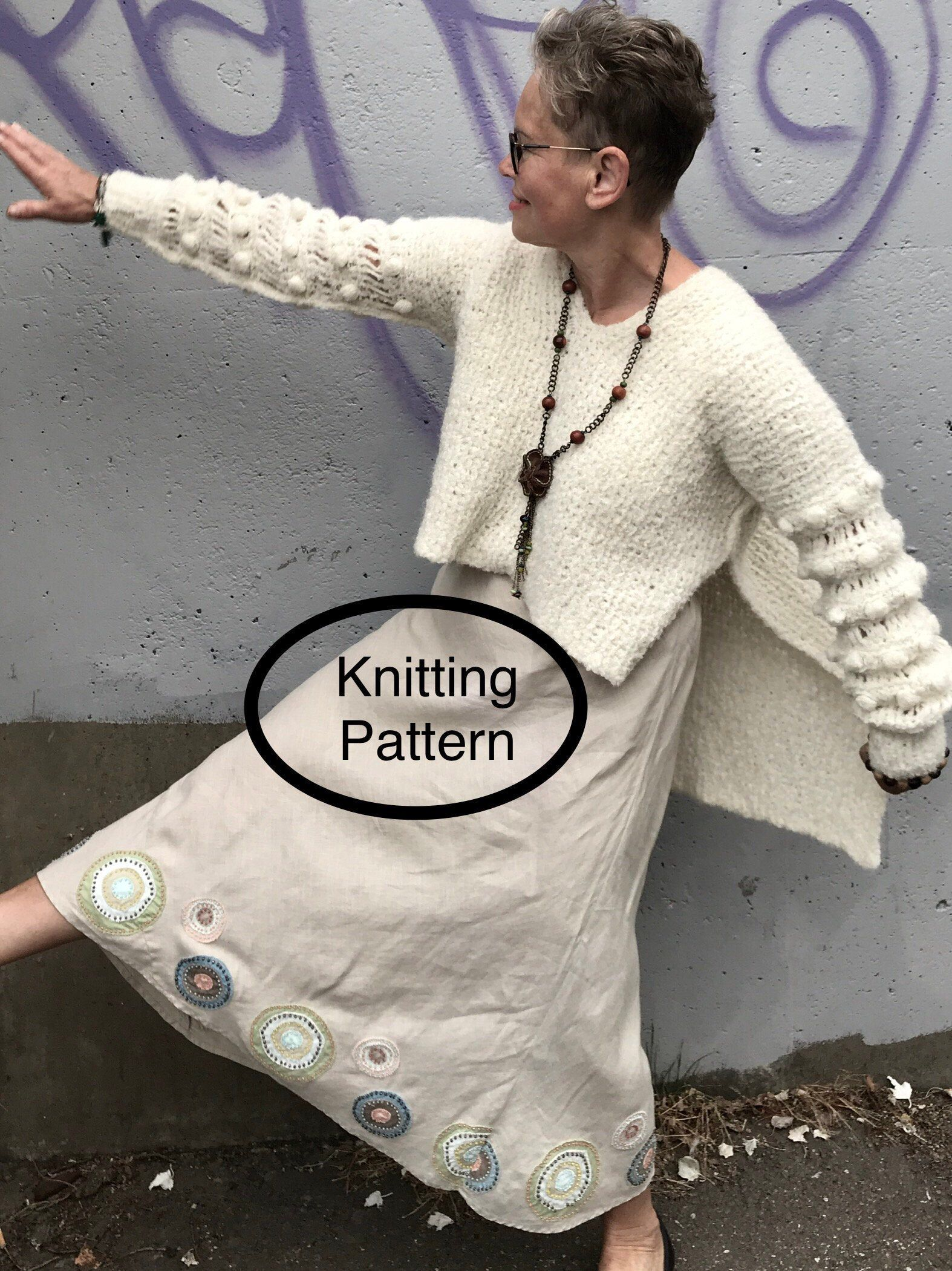 Photo of Knitting pattern.PDF pattern only.Women tunic/sweater knitted sideways.Easy knitting pattern for beginners