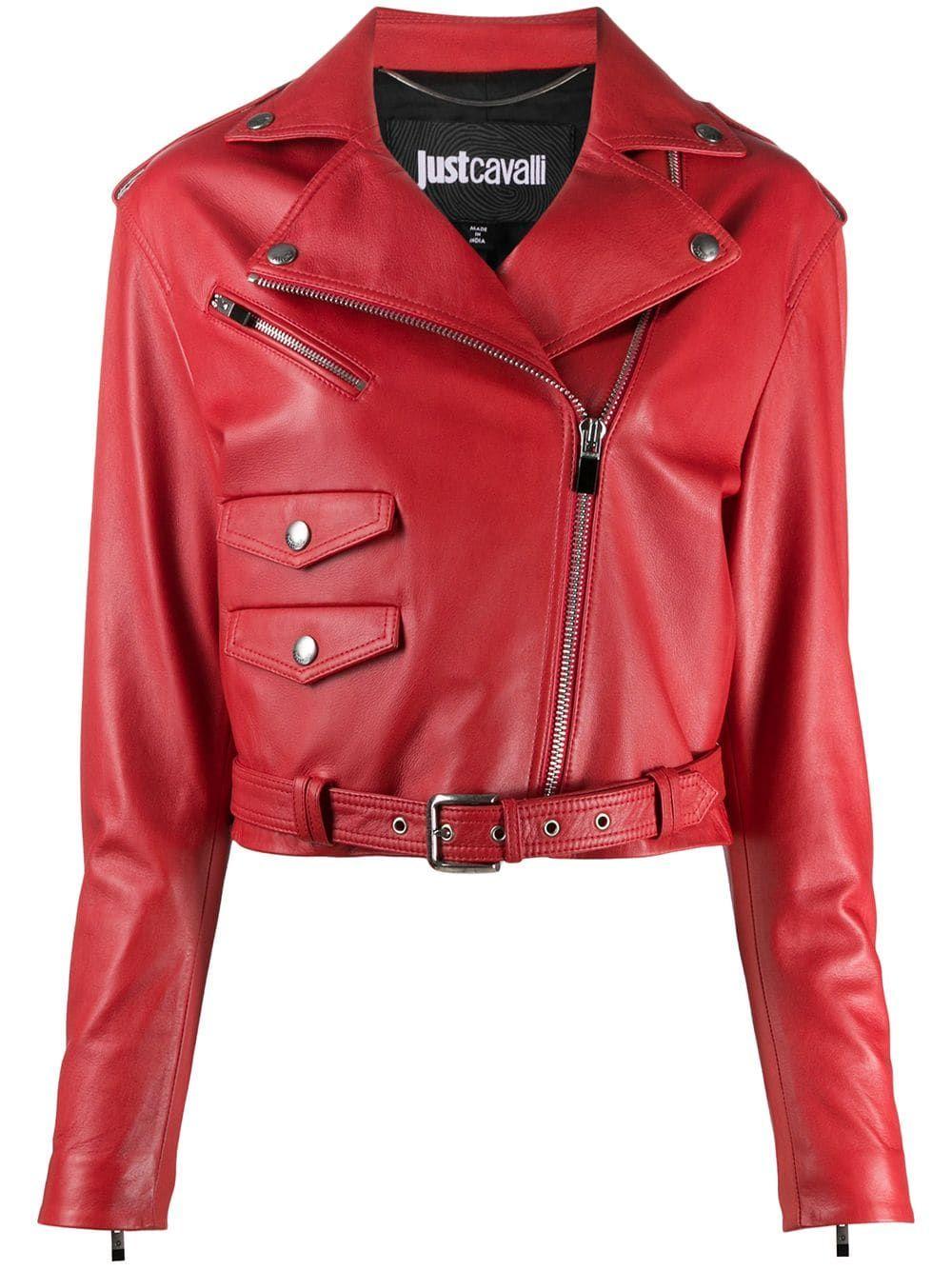 Just Cavalli Cropped Biker Jacket Farfetch In 2021 Red Leather Jacket Outfit Cropped Biker Jacket Jackets [ 1334 x 1000 Pixel ]