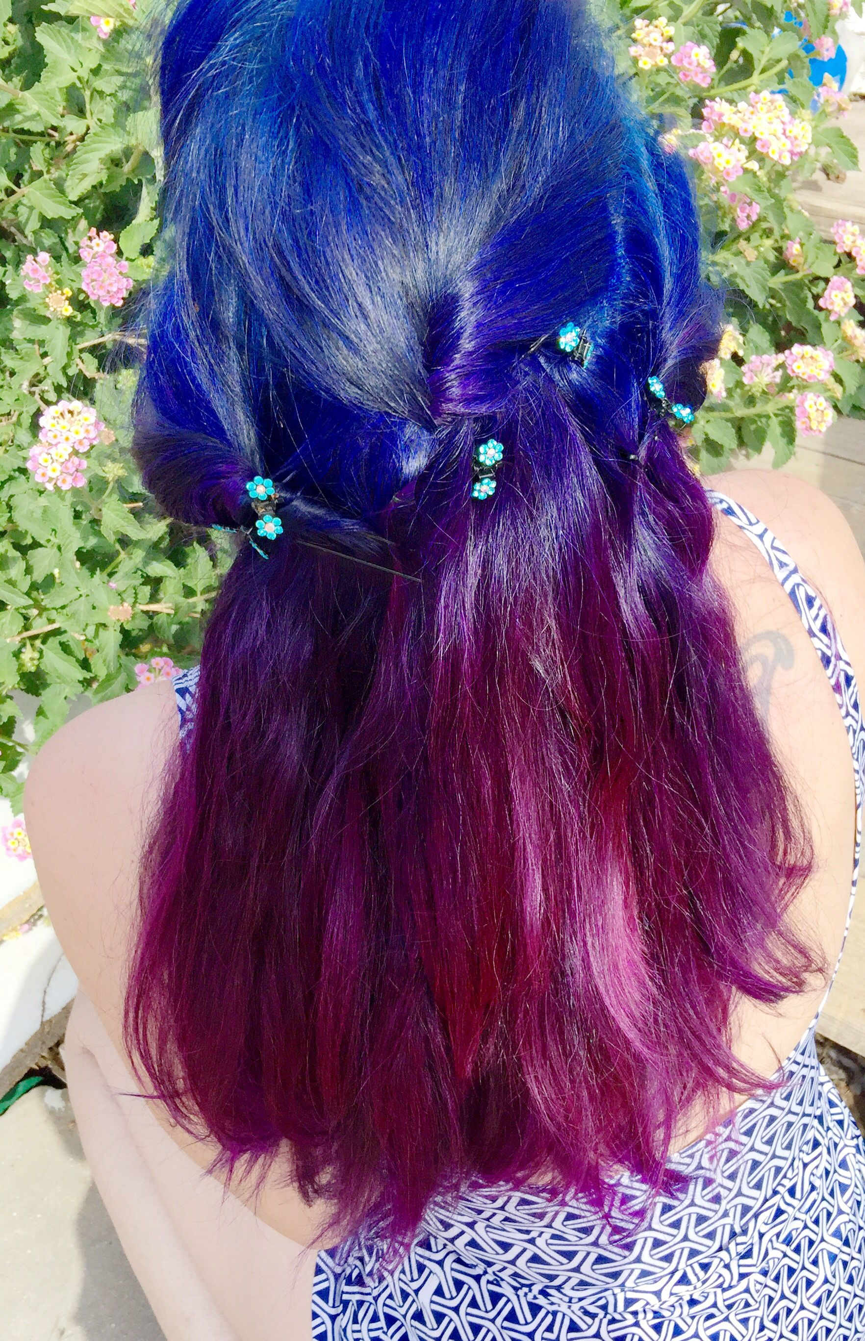Feeling Blue Bright Blue Roots With Purple Ends No Bleach