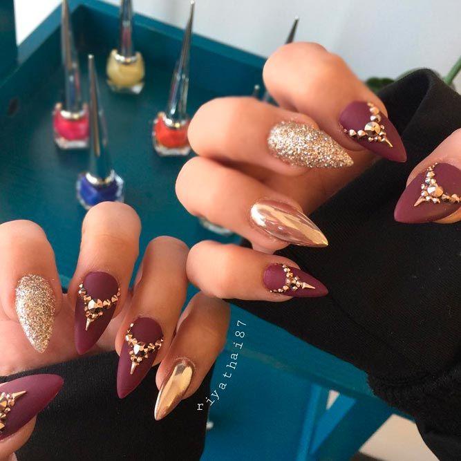 flawless gold and maroon makeup nails gold makeup, 28 burgundy nails ...