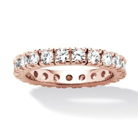 2 TCW Round Cubic Zirconia Eternity Band in Rose Gold over Sterling Silver - Size 10