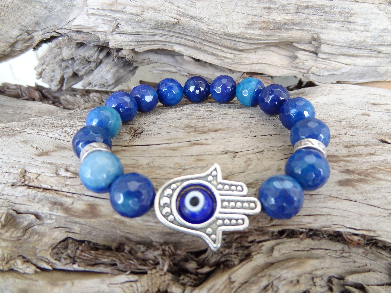 Protection Bracelet Mother/'s Day Gifts Lapis Lazuli Bracelet Gift for Mom Hand of Fatima Bracelet Evil Eye Bracelet Dark Blue Bracelet