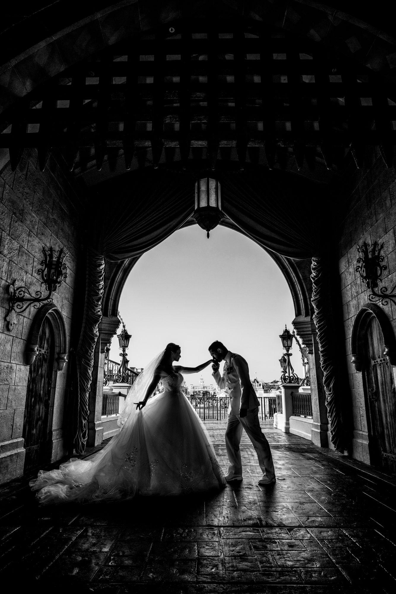 A fairy tale portrait under cinderella castle wedding photos