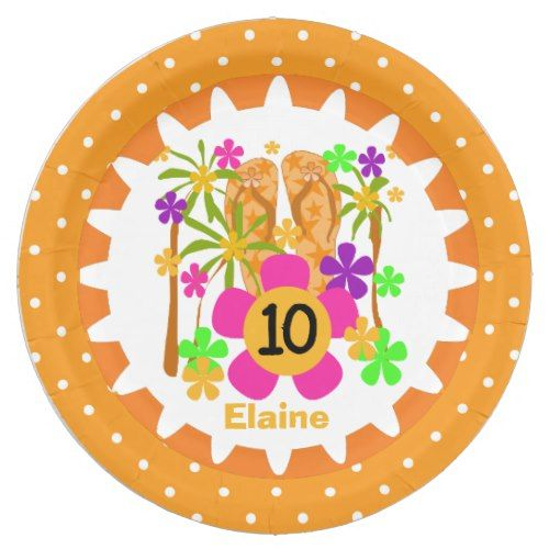 Personalized Luau 10th Birthday Paper Plates  sc 1 st  Pinterest & Personalized Luau 10th Birthday Paper Plates | Tropical Birthday ...