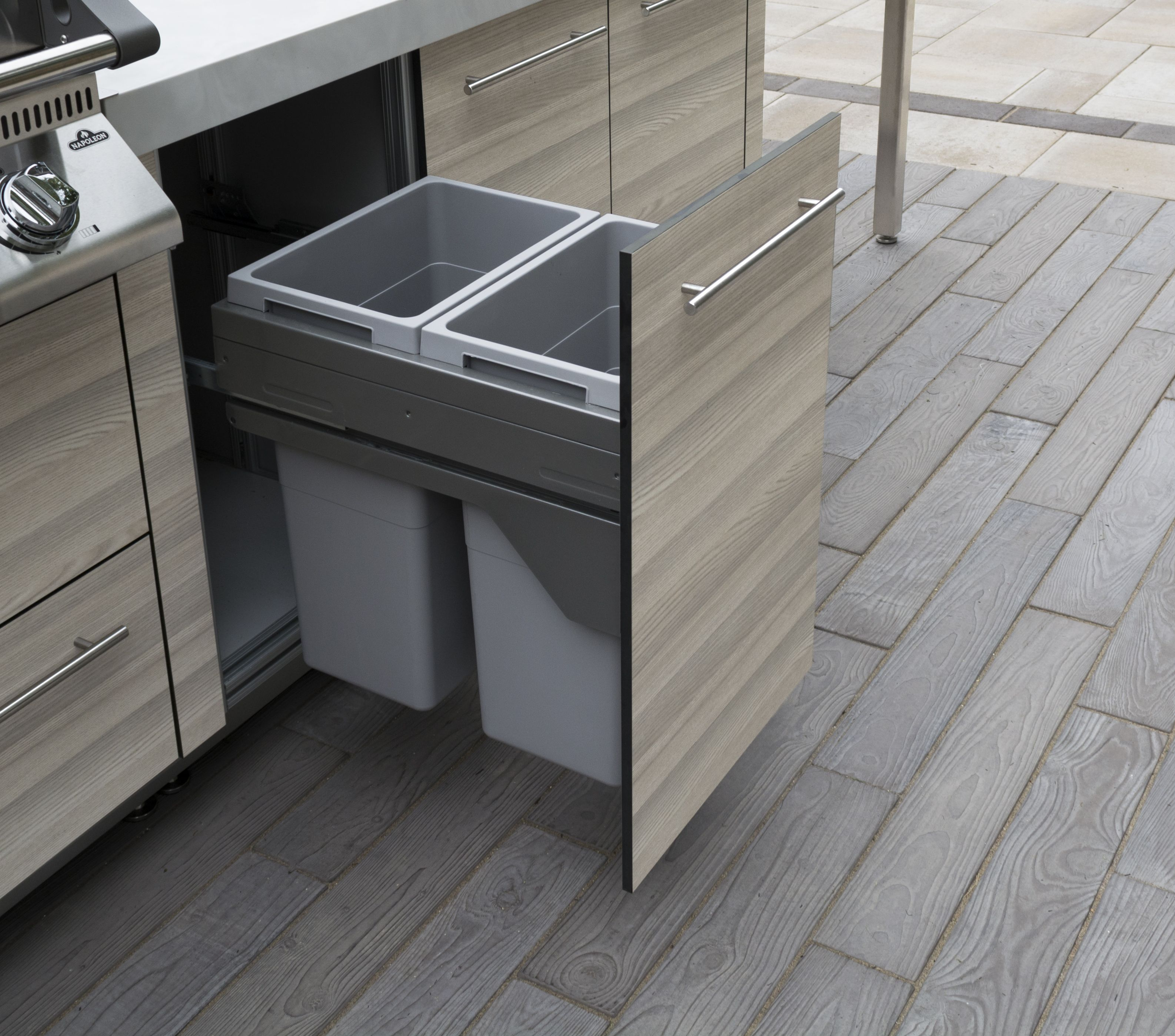 Pull Out Washable Waste Recycling Drawer Outdoor Kitchen Cabinetry Built In Pantry Prep Kitchen Outdoor Kitchen