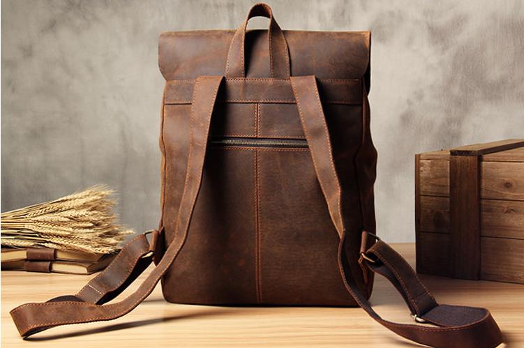 ce77263892 Vintage Leather School Backpack Casual Travel Backpack Laptop Bag in Vintage  Brown 9452 - LISABAG
