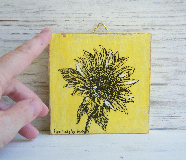 Miniature painting sunflower print botanical print print on wood