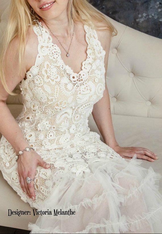 Crochet wedding dress, Wedding dress Irish Lace, royal wedding dress, vintage wedding dress, irish l #crochetelements