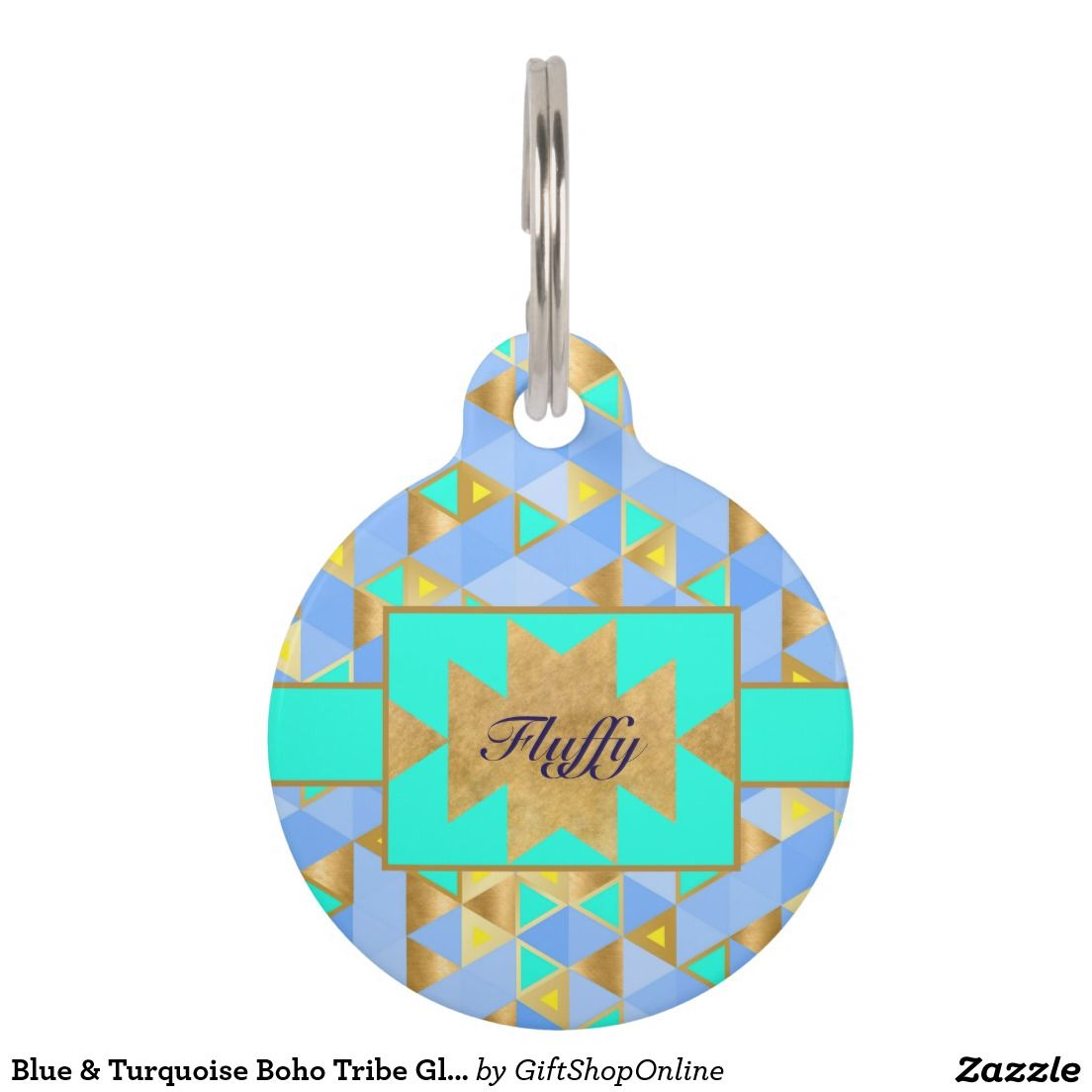 Blue & Turquoise Boho Tribe Glam Gold Monogrammed Pet ID Tag
