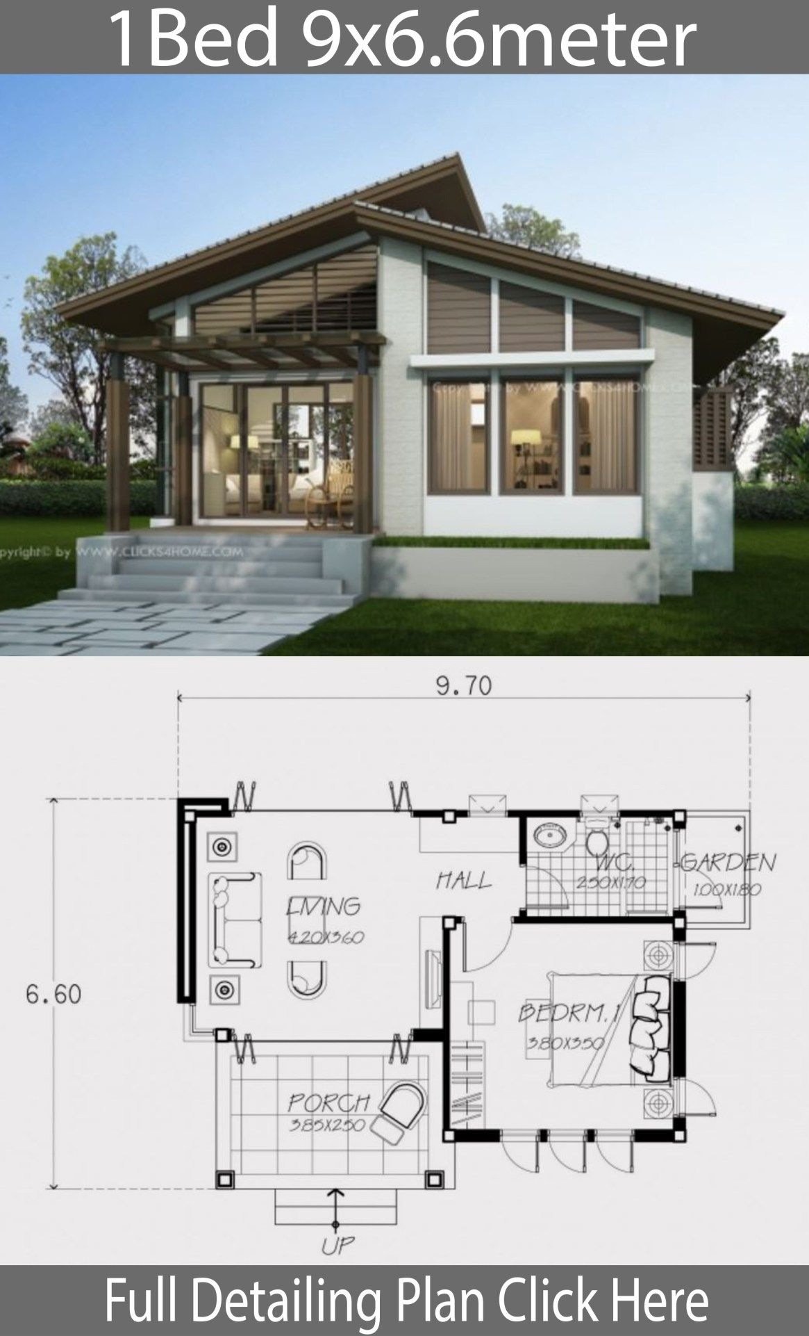 Small Home Design Plan 9x6 6m With One Bedroom Bungalow House