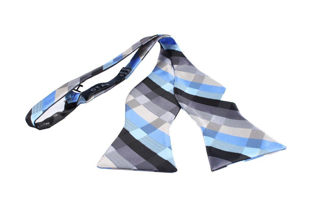 f1aadc06abaf Black Grey Silver Blue Pattern Bow Tie Untied   $20   Self Tie Bow Ties