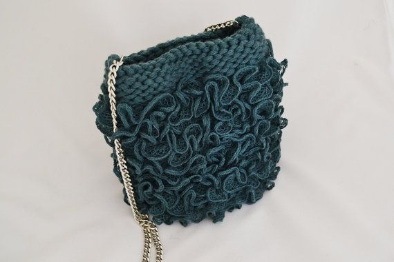 Evening purse emerald bag Teal wedding purse ruffle by Notforeat