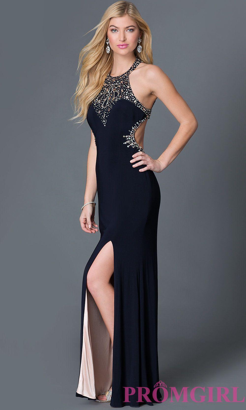 Dark Blue Jeweled Prom Dresses