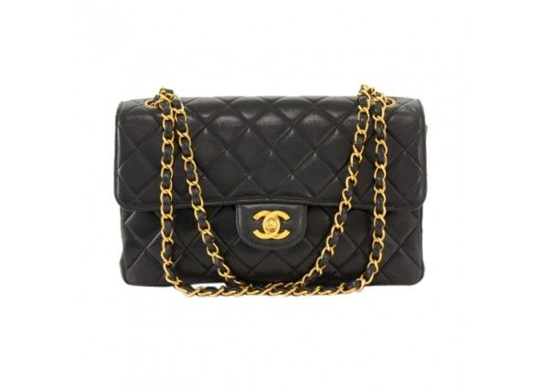 "Chanel 2.55 10"" Black Quilted Leather Double Sided Flap Shoulder Bag"