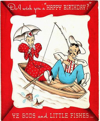 Vintage Birthday Card Old Fashioned Couple Fishing Boat Birthday