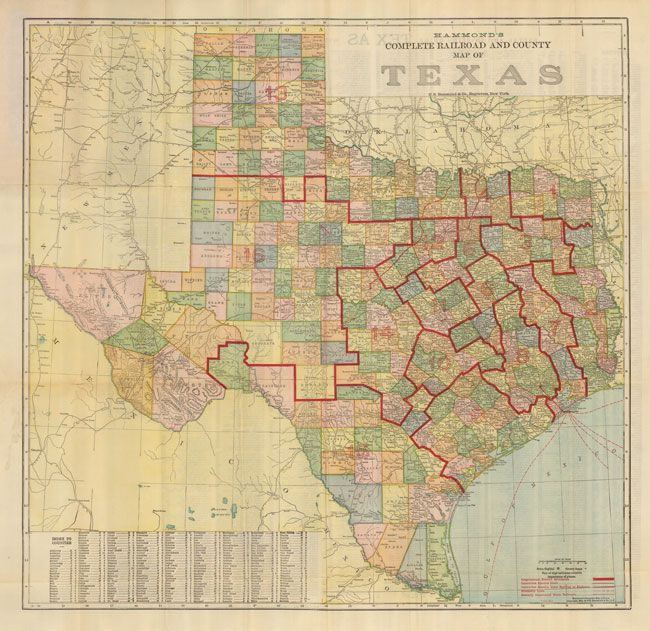 Complete Map Of Texas.Hammond S Complete Railroad And County Map Of Texas Hammond 1911