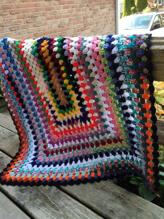 Colourful Crotchet Blanket / Throw 1980's by VintageKnitzandFindz