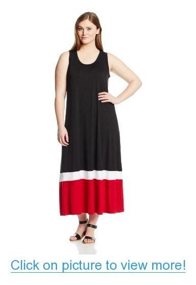 Karen Kane Women\'s Plus-Size Contrast Maxi Tank Dress | Plus Size ...