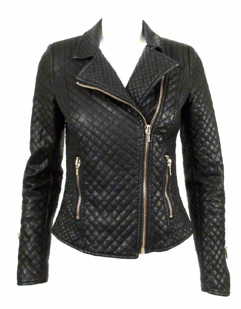4722d290 Zara trafaluc black quilted faux leather biker jacket sz.s   some of ...