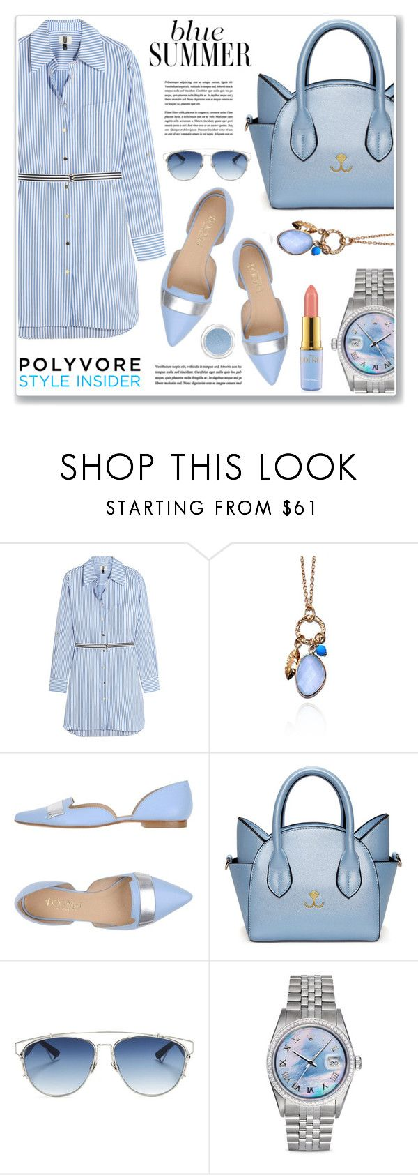 """blue shirt dress"" by nanawidia ❤ liked on Polyvore featuring Topshop Unique, Argento Vivo, Dogma, Christian Dior, Rolex, Disney and Givenchy"