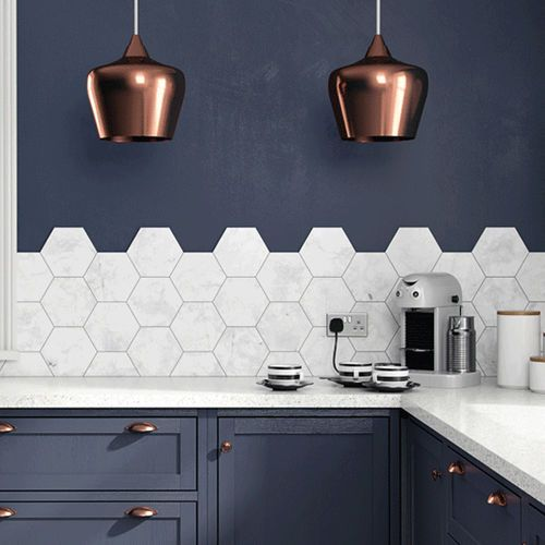 Wall Mounted Hexagon Tile With Pattern In 2019 Kitchen Wall