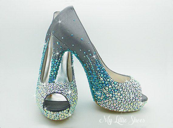 Faded Crystallised High Heels Peep Toe Style 5 Inch Heel