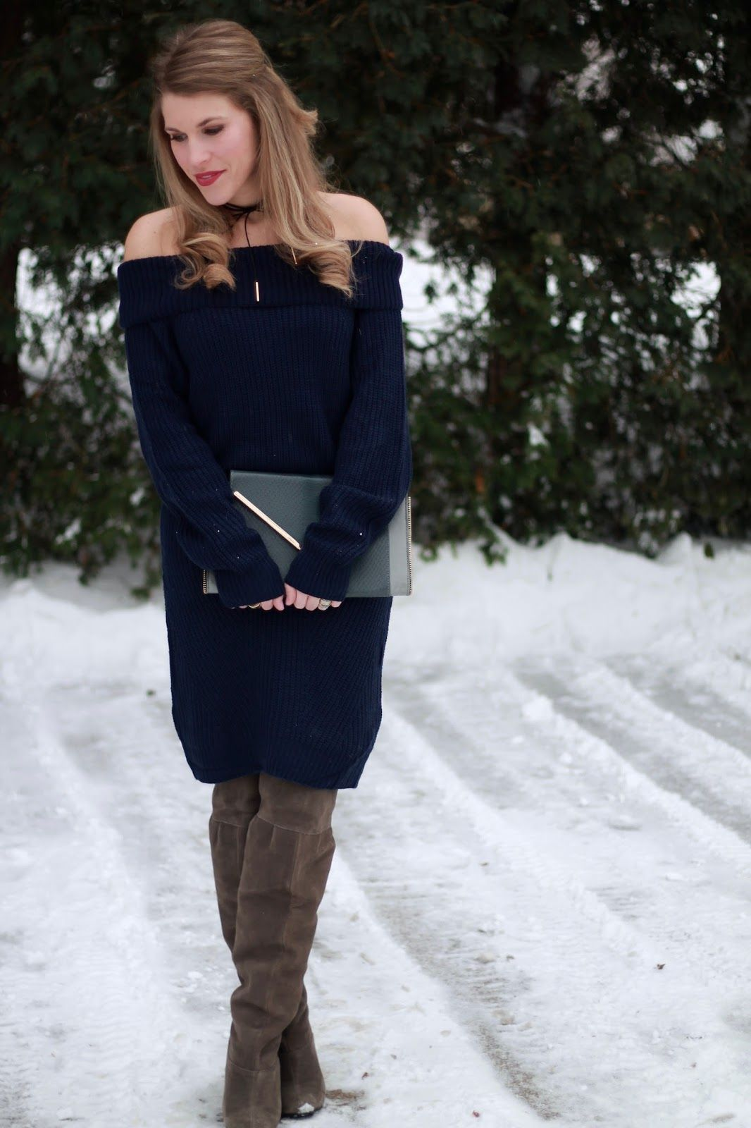 I do deClaire | Navy Off the Shoulder Sweater Dress | Winter date ...