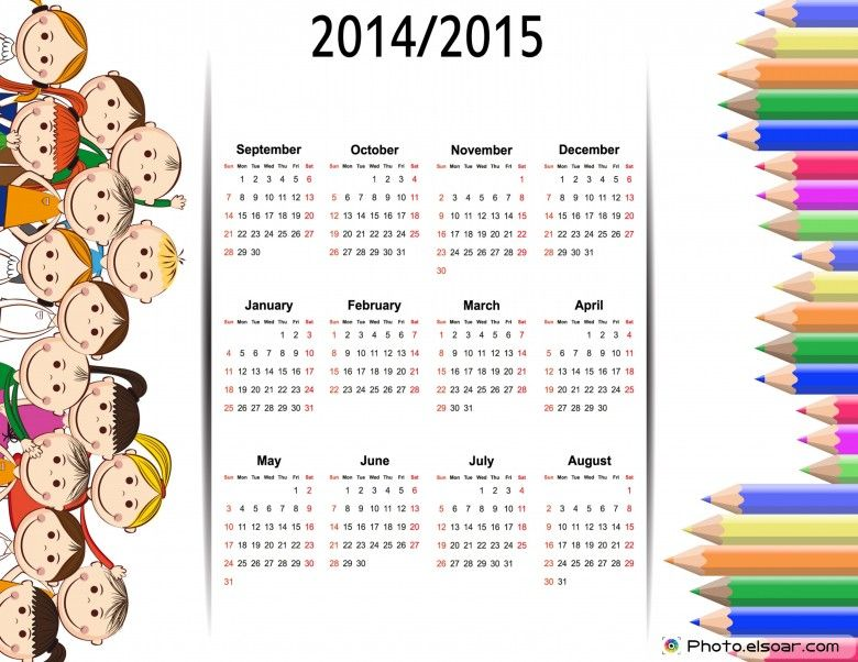 Colorful kids school calendar from 2014 , 2015 happy Pinterest - school calendar