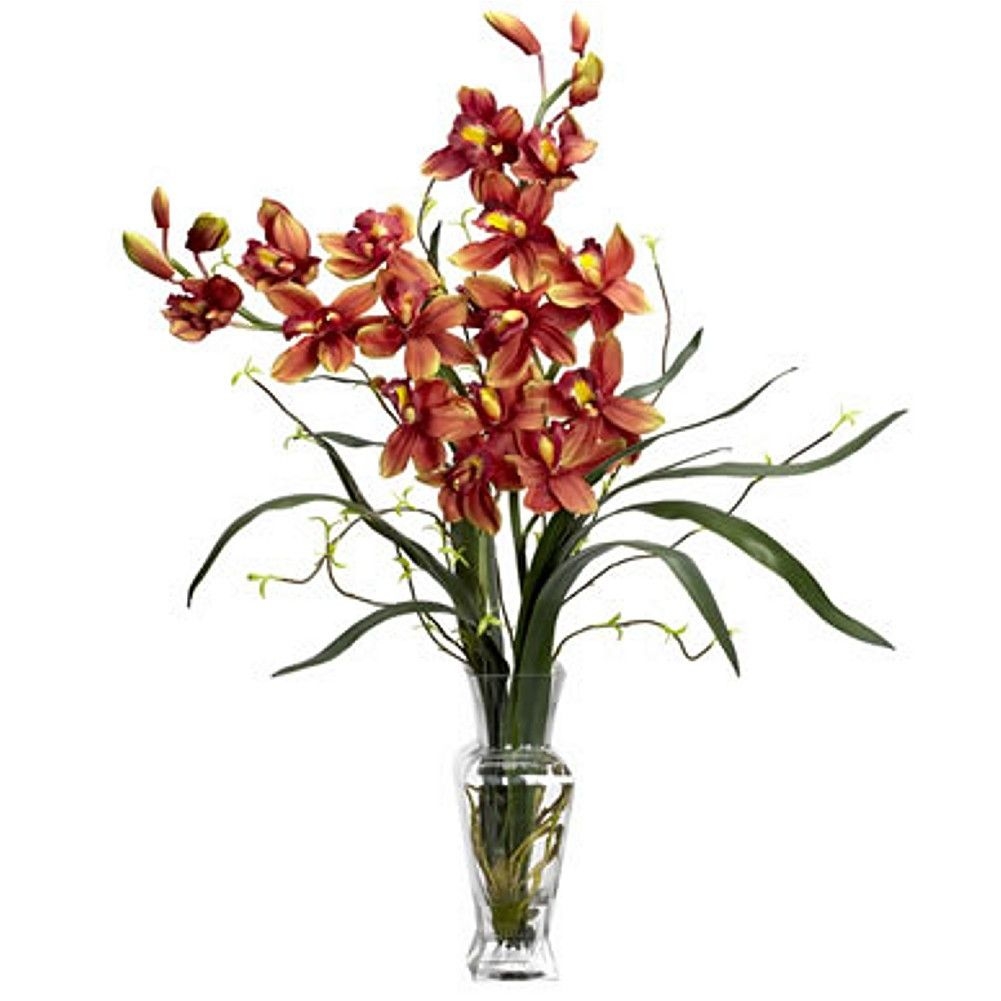 Burgundy Cymbidium Silk Flower Arrangement