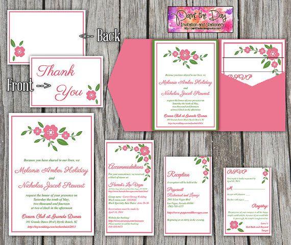 Dainty Blossoms 5x7 Wedding Pocketfold Microsoft Word Template - microsoft word thank you card template