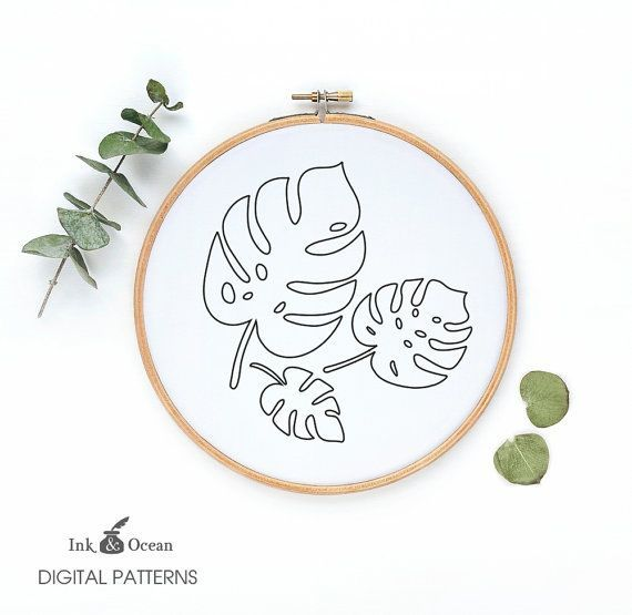 Monstera, tropical plant leaf Digital hand embroidery pattern , PDF instant Download