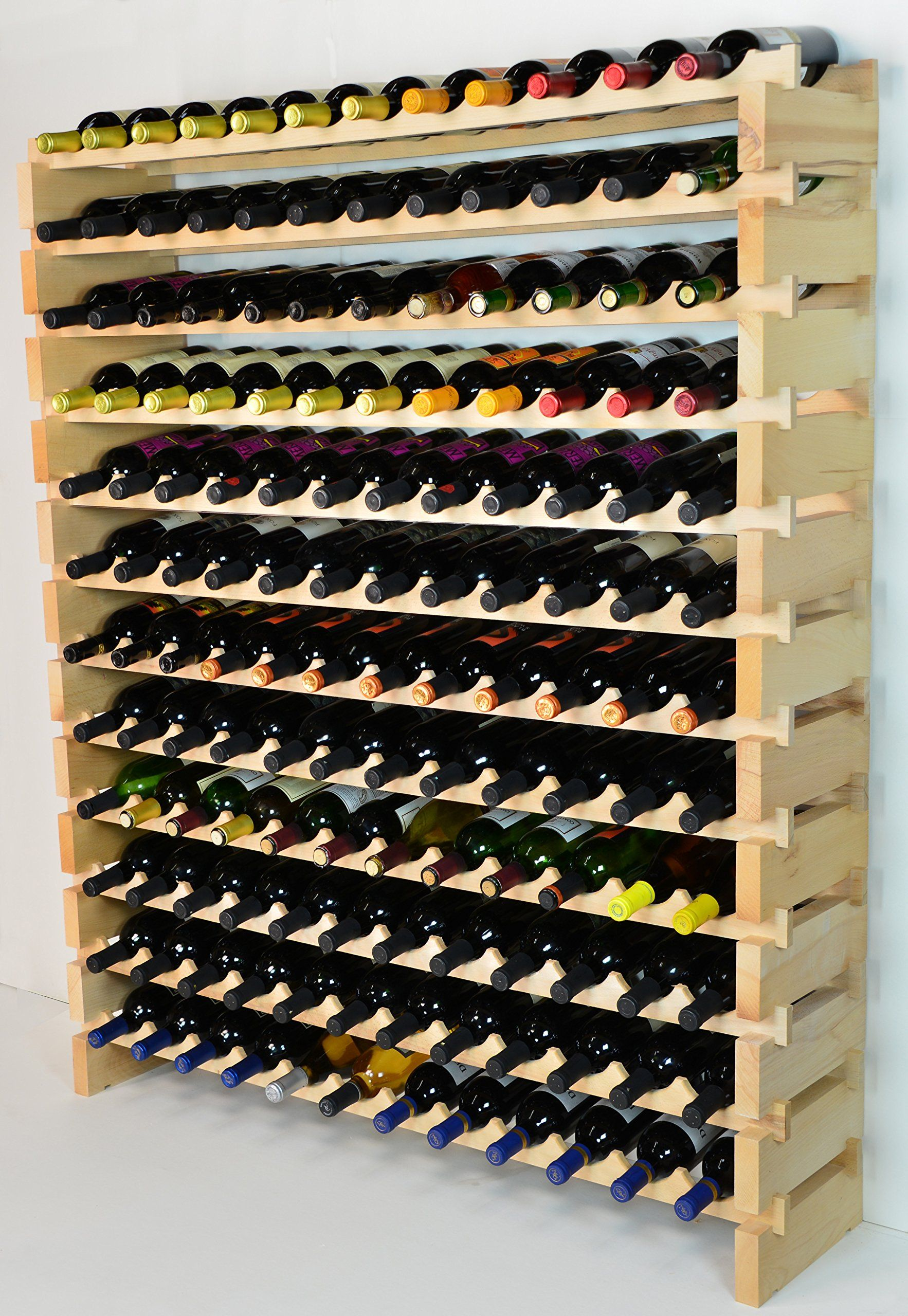 Modular Wine Rack Beechwood 48144 Bottle Capacity 12 Bottles Across