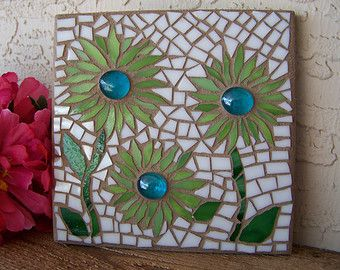 Stained Glass Mosaic Art - Mosaic Flowers - Daisy Wall Art - Wall Hanging - Wall Decor - Home Decor - Housewarming Gift & Stained Glass Mosaic Art - Mosaic Flowers - Daisy Wall Art - Wall ...