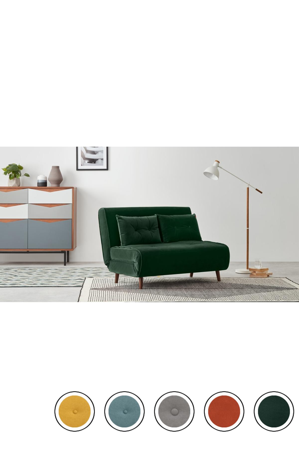 Haru Small Sofa Bed Pine Green Velvet Velvet Sofa Bed Small Sofa Sofa Bed