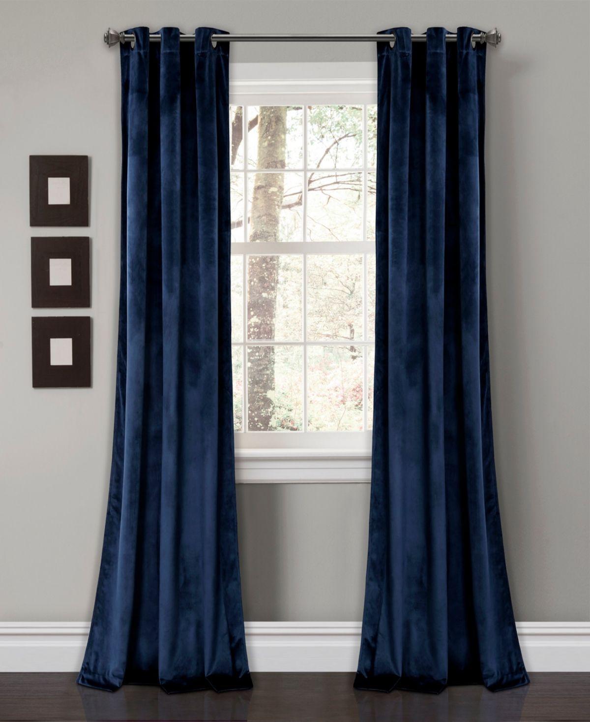 Pair Of Decorative Designer Custom Curtains Drapes Navy On Cream