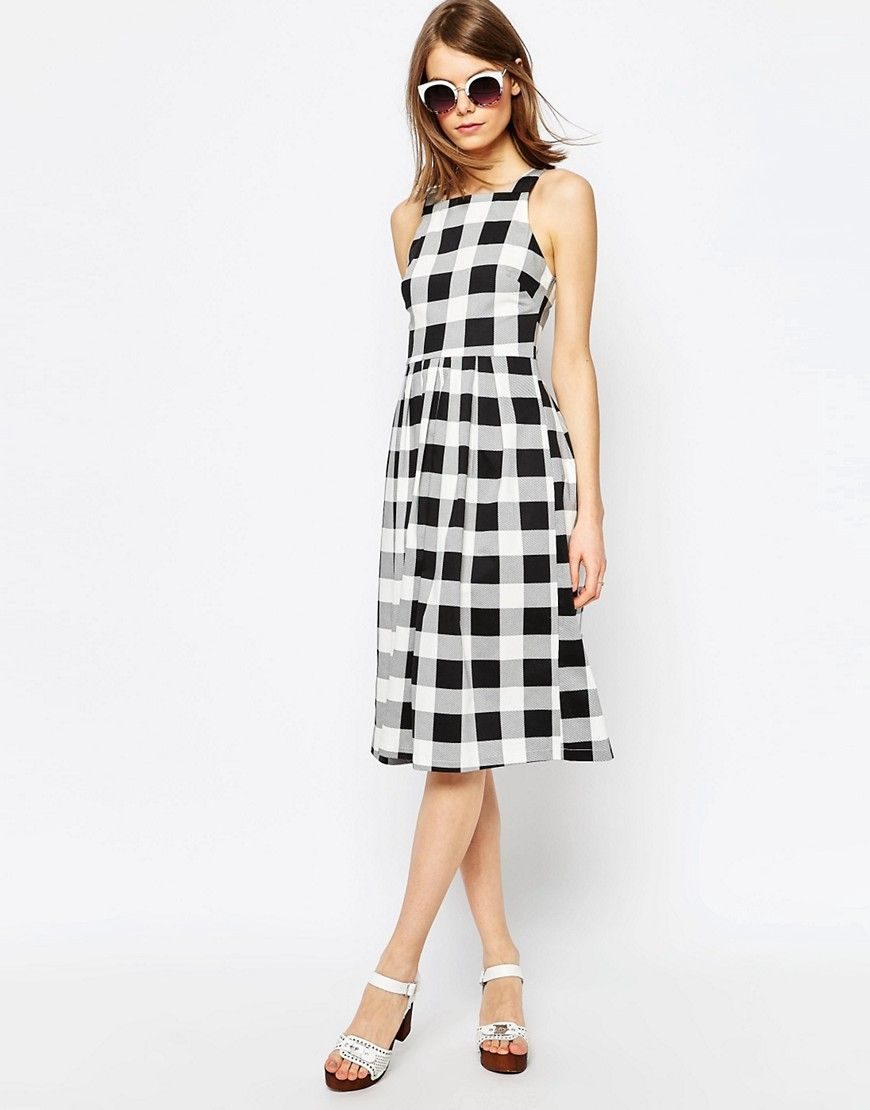 ba09d799f82 Image 4 of ASOS Structured Midi Dress in Gingham Print