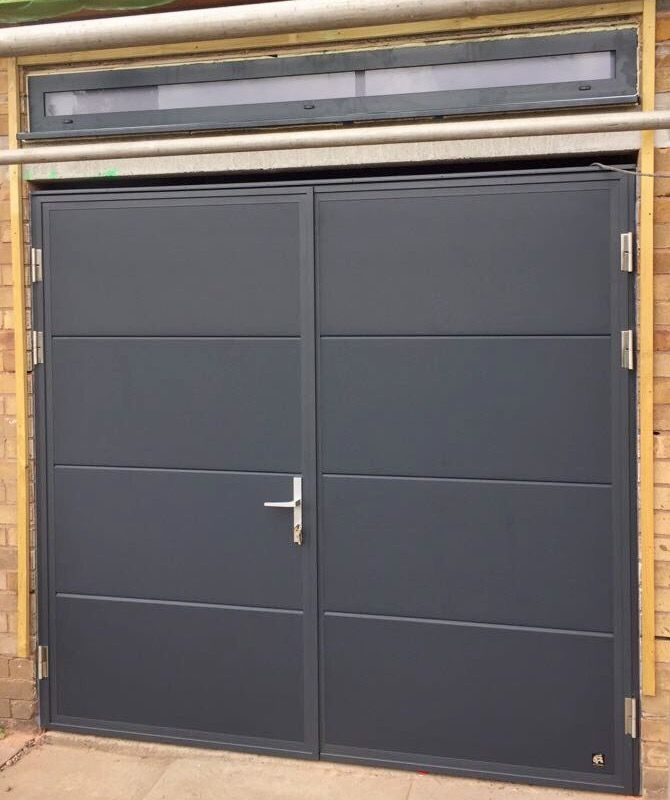 Ryterna Flush Slick Side Hinge Insulated Garage Door Ral 7016 Anthracite Grey Garage Doors Side Hinged Garage Doors Garage Door Design