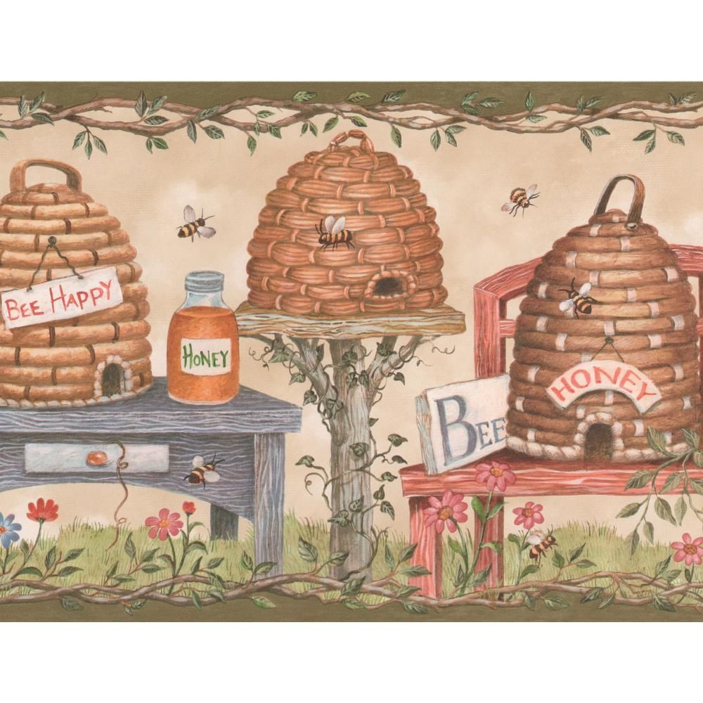 Retro Art Bees Honey Beehives on Benches Flowers Prepasted
