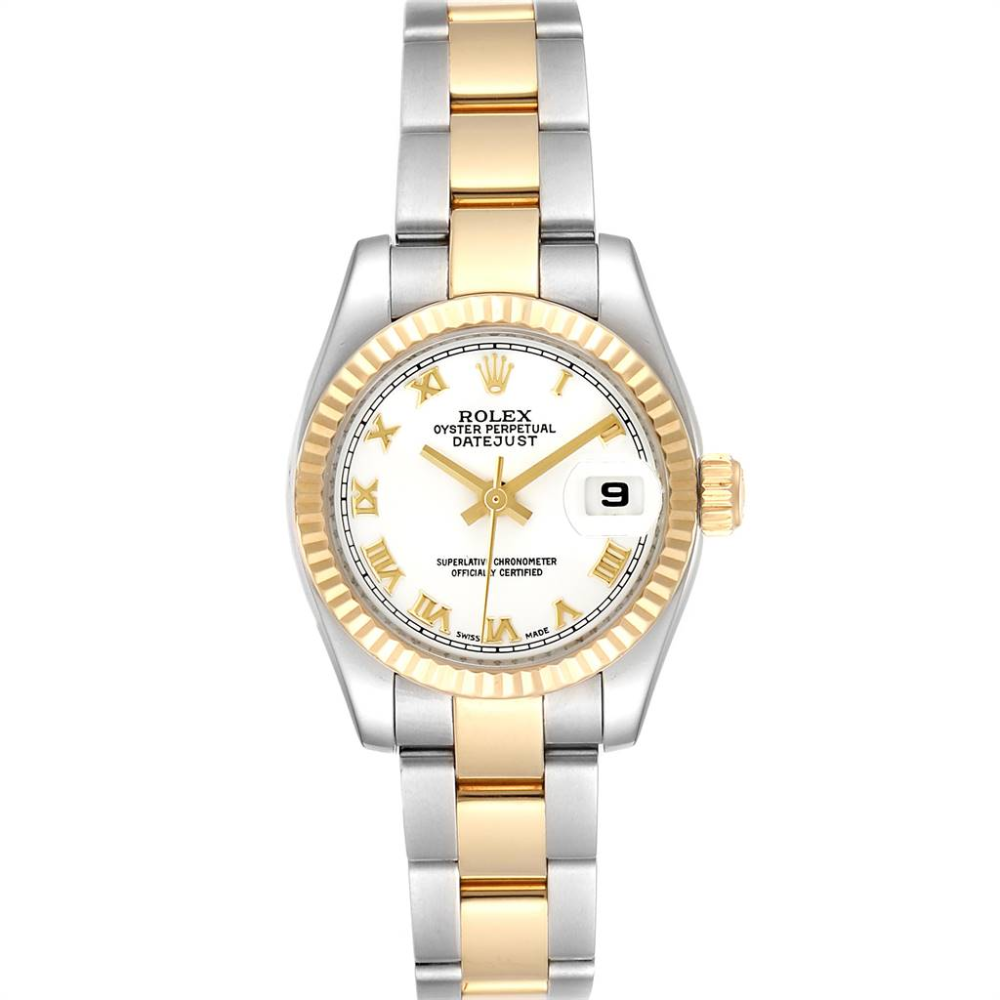 Rolex Datejust 26 Steel Yellow Gold White Dial Ladies Watch 179173 #rolexwatches